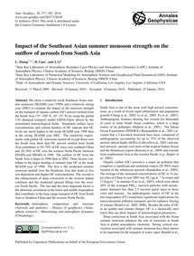 Impact of the Southeast Asian Summer Mon... by Zhang, L.