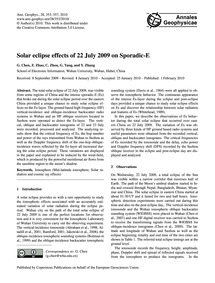 Solar Eclipse Effects of 22 July 2009 on... by Chen, G.