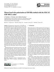 Meteor Head Echo Polarization at 930 Mhz... by Wannberg, G.
