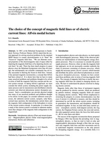 The Choice of the Concept of Magnetic Fi... by Akasofu, S.-i.