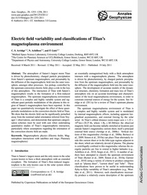 Electric Field Variability and Classific... by Arridge, C. S.