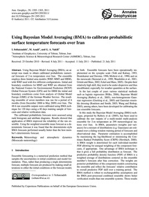 Using Bayesian Model Averaging (Bma) to ... by Soltanzadeh, I.
