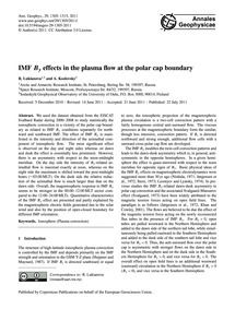 Imf BY Effects in the Plasma Flow at the... by Lukianova, R.