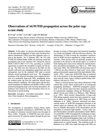 Observations of Agw/Tid Propagation Acro... by Cai, H. T.