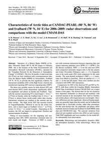 Characteristics of Arctic Tides at Canda... by Manson, A. H.
