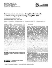 Polar Mesosphere Summer Echo Strength in... by Smirnova, M.