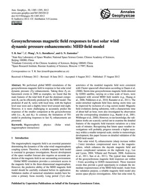 Geosynchronous Magnetic Field Responses ... by Sun, T. R.