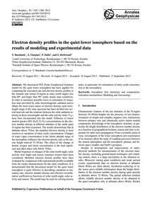 Electron Density Profiles in the Quiet L... by Barabash, V.
