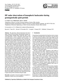 Hf Radar Observations of Ionospheric Bac... by Kane, T. A.