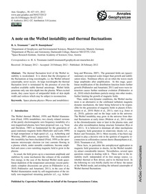 A Note on the Weibel Instability and The... by Treumann, R. A.
