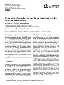 Observations of Magnetic Flux Ropes Duri... by Borg, A. L.