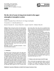 On the Role of Ozone in Long-term Trends... by Laštovička, J.