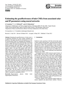 Estimating the Geoeffectiveness of Halo ... by Uwamahoro, J.