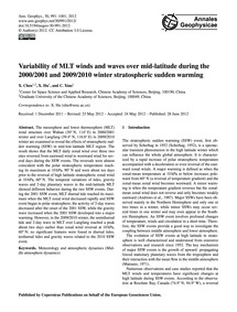 Variability of Mlt Winds and Waves Over ... by Chen, X.
