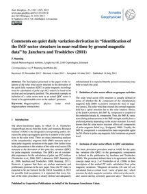 Comments on Quiet Daily Variation Deriva... by Stauning, P.