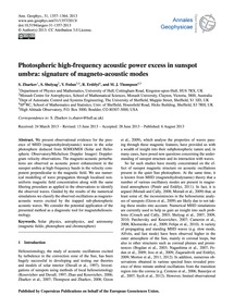 Photospheric High-frequency Acoustic Pow... by Zharkov, S.