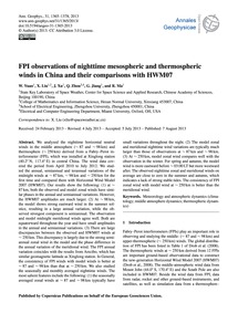 Fpi Observations of Nighttime Mesospheri... by Yuan, W.