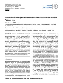 Directionality and Spread of Shallow Wat... by Sanil Kumar, V.