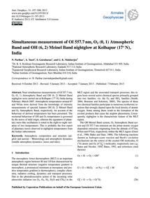 Simultaneous Measurement of Oi 557.7 Nm,... by Parihar, N.