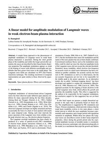 A Linear Model for Amplitude Modulation ... by Baumgärtel, K.