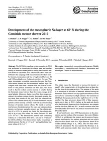 Development of the Mesospheric Na Layer ... by Dunker, T.