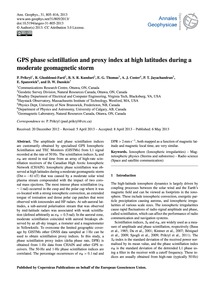 Gps Phase Scintillation and Proxy Index ... by Prikryl, P.