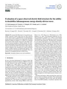 Evaluation of a Space-observed Electric ... by Golovchanskaya, I. V.