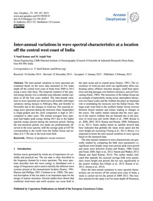 Inter-annual Variations in Wave Spectral... by Sanil Kumar, V.