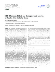 Eddy Diffusion Coefficients and Their Up... by Vlasov, M. N.
