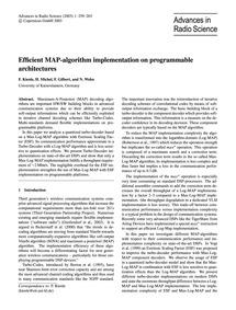 Efficient Map-algorithm Implementation o... by Kienle, F.