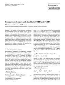 Comparison of Errors and Stability in Fd... by Leuchtmann, P.