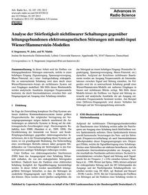Analyse Der Störfestigkeit Nichtlinearer... by Stegemann, S.