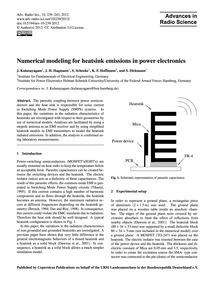 Numerical Modeling for Heatsink Emission... by Kulanayagam, J.