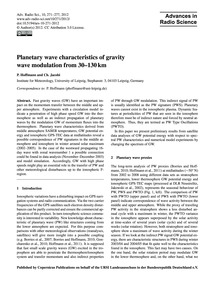 Planetary Wave Characteristics of Gravit... by Hoffmann, P.