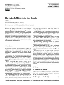 The Method of Lines in the Time Domain :... by Helfert, S. F.