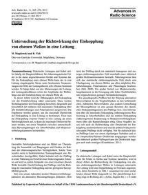 Untersuchung Der Richtwirkung Der Einkop... by Magdowski, M.