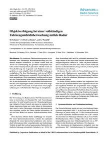 Objektverfolgung Bei Einer Vollständigen... by Schuster, M.