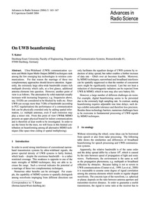 On Uwb Beamforming : Volume 2, Issue 6 (... by Kaiser, T.