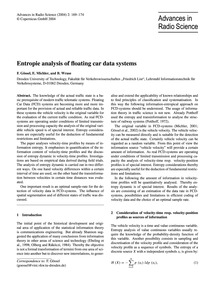 Entropie Analysis of Floating Car Data S... by Gössel, F.