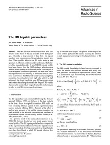 The Iri Topside Parameters : Volume 2, I... by Coïsson, P.