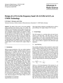 Design of a Lna in the Frequency Band 1.... by Di Gioia, E.