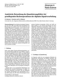 Analytische Betrachtung Des Quantisierun... by Schlecker, W.
