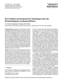 Das Verhalten Nanostrukturierter Schaltu... by Bremer, J.-k.