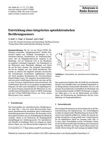 Entwicklung Eines Integrierten Optoelekt... by Kodl, G.