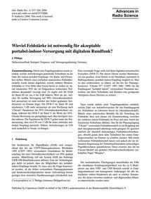 Wieviel Feldstärke Ist Notwendig Für Akz... by Philipp, J.