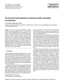 On Network Representations of Antennas I... by Gronwald, F.