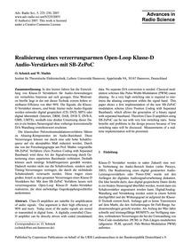 Realisierung Eines Verzerrungsarmen Open... by Schnick, O.
