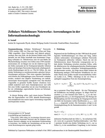 Zellulare Nichtlineare Netzwerke: Anwend... by Tetzlaff, R.