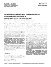 Investigation of 3G Radio Network Topolo... by Buddendick, H.