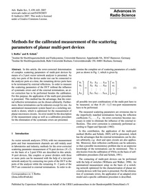 Methods for the Calibrated Measurement o... by Rolfes, I.